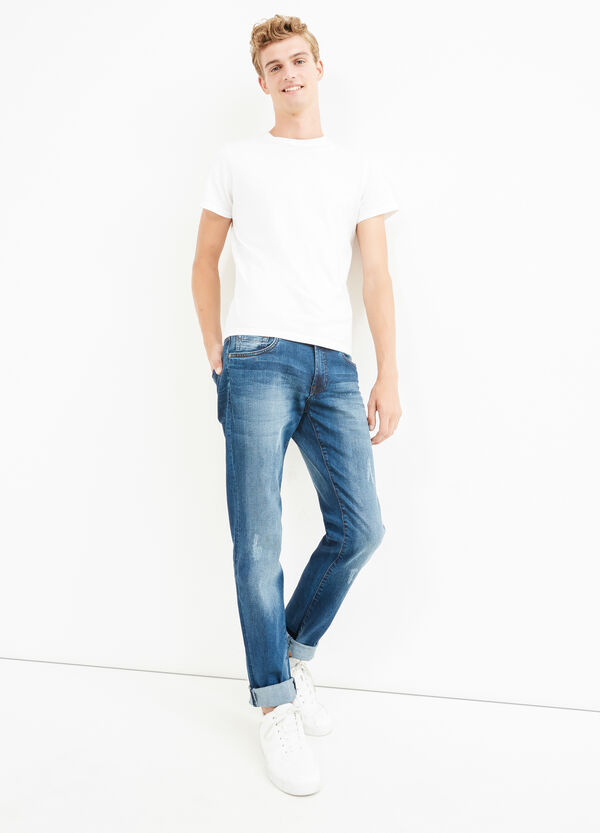 Stretch slim fit jeans with abrasions | OVS