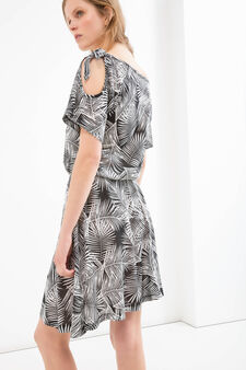 Dress in 100% cotton with short sleeves, Gunmetal, hi-res
