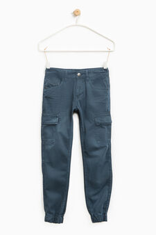 Creased-effect cotton trousers, Blue, hi-res