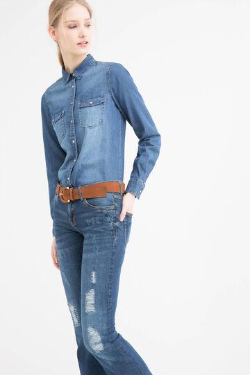 Camicia di jeans effetto delavé, Lavaggio scuro, hi-res