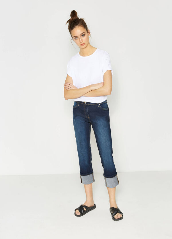 Washed and faded effect stretch crop jeans | OVS