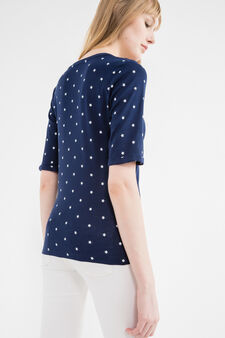 T-shirt in 100% cotton with star pattern, Dark Blue, hi-res