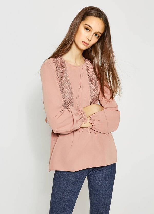Blouse with lace and frills | OVS
