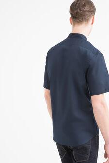 Camicia misto cotone tinta unita, Blu, hi-res
