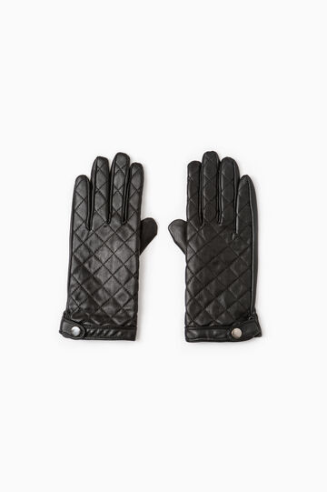 Quilted hammered-effect gloves., Black, hi-res