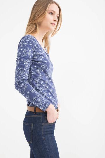 Patterned T-shirt in 100% cotton, Denim, hi-res