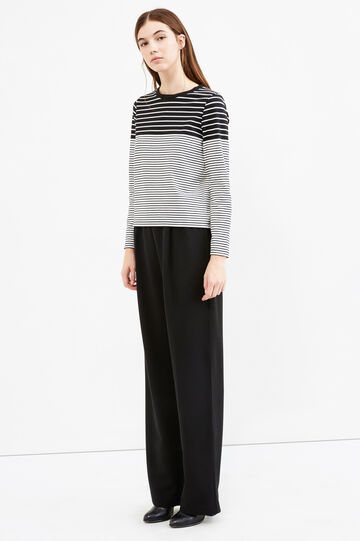 Stretch viscose T-shirt with striped pattern, Black/White, hi-res
