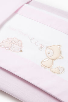 Set of sheets and pillowcase with embroidery, White/Pink, hi-res