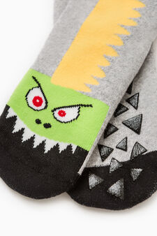 Slipper socks with embroidered monster, Grey Marl, hi-res