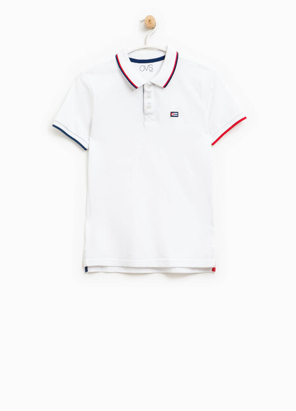 Polo shirt in 100% cotton with striped ribbing | OVS