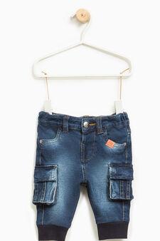 Jeans stretch effetto delavato, Blu, hi-res