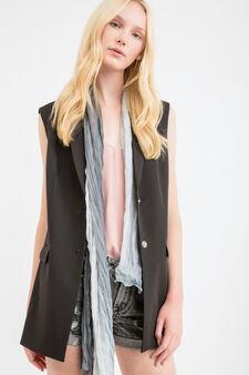 Viscose blend sleeveless jacket, Black, hi-res