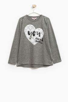 Printed cotton stretch T-shirt, Grey, hi-res
