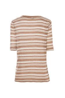Smart Basic striped T-shirt, White/Brown, hi-res