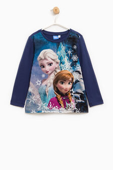 T-shirt with Frozen print and diamantés, Blue, hi-res