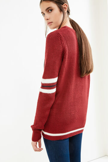 Knitted pullover with printed lettering, Red, hi-res