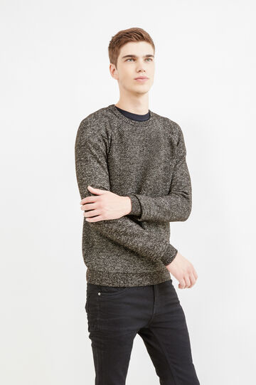Cotton blend crew-neck knitted pullover, White/Black, hi-res