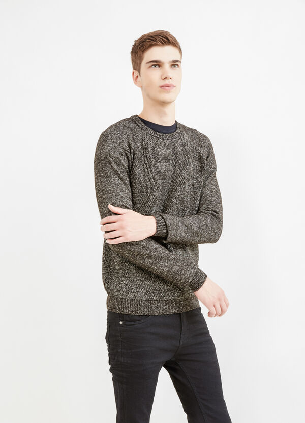 Cotton blend crew-neck knitted pullover | OVS