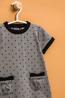 Stretch viscose polka dot dress, Grey Marl, hi-res