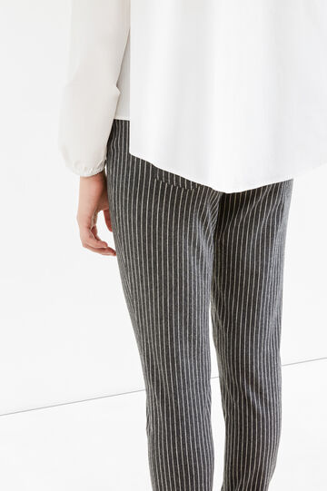 Stretch striped cotton trousers, White/Grey, hi-res