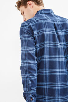 Casual check shirt with button-down collar, Blue/Light Blue, hi-res