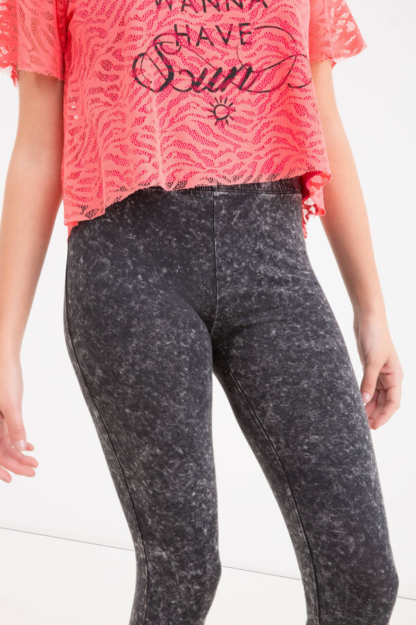 Mis-dyed stretch cotton Teen leggings | OVS