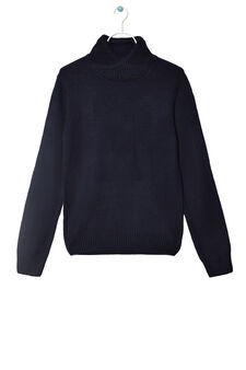 Solid colour knitted pullover, Dark Blue, hi-res