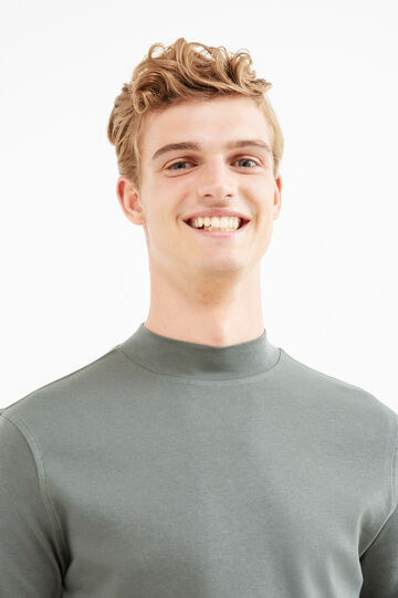 Long-sleeved T-shirt with high neck, Army Green, hi-res