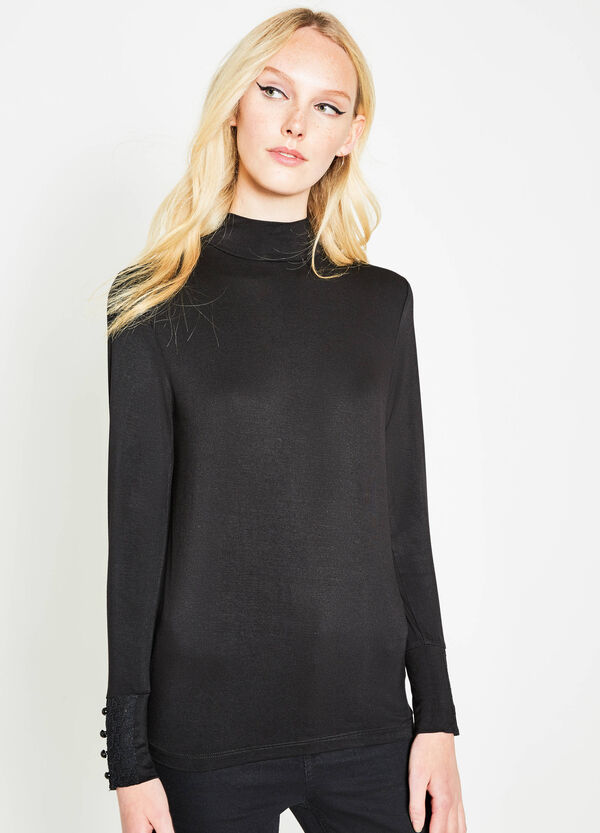 T-shirt in stretch viscose with lace and buttons | OVS