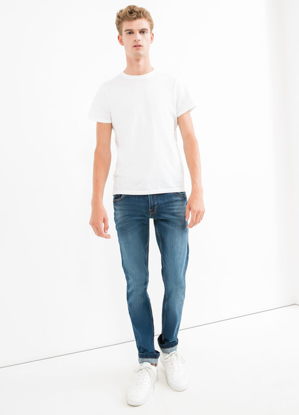 Slim-fit, worn-effect, stretch jeans with whiskering | OVS
