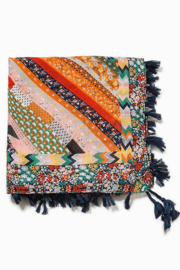 Patterned scarf with tassels, Multicolour, hi-res