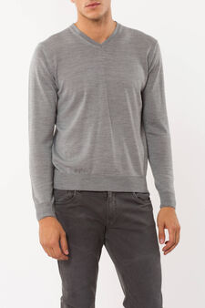 Pullover in wool blend, Grey Marl, hi-res