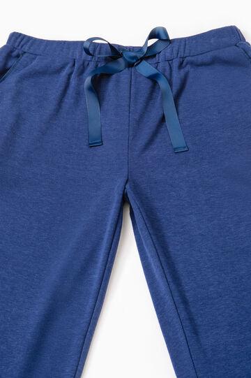 Solid colour viscose pyjama trousers, Dark Blue, hi-res