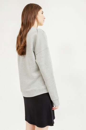 Solid colour cotton sweatshirt with print, Grey, hi-res