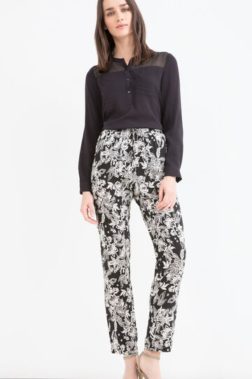 Printed trousers in 100% viscose