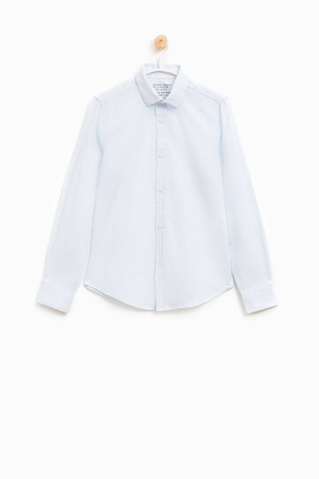 Ribbed shirt in 100% cotton, White, hi-res