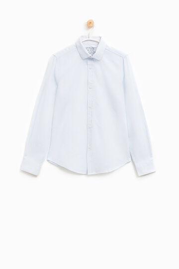 Camicia a costina puro cotone, Bianco, hi-res