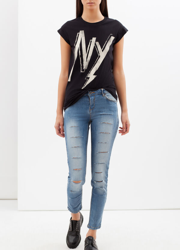 Skinny-fit stretch jeans with cuts | OVS