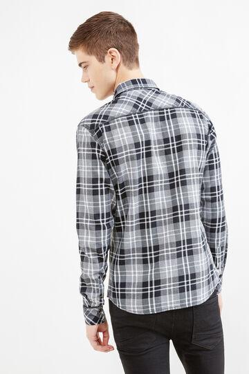 Camisa informal slim fit con bolsillos superiores, Negro/Gris, hi-res