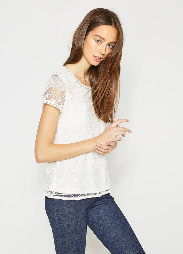 Lace T-shirt with semi-sheer sleeves | OVS