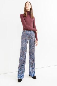 Pantaloni a vita alta stampa paisley, Blu, hi-res