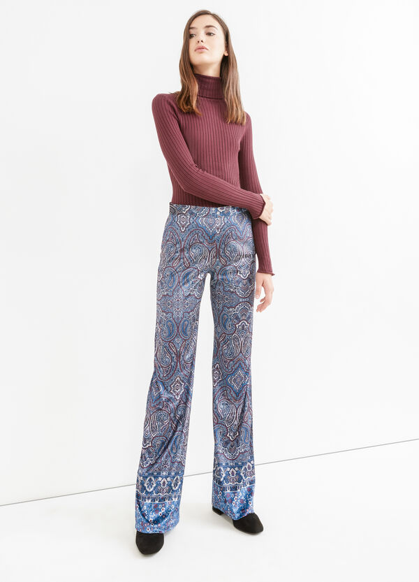 High waist trousers with paisley print | OVS