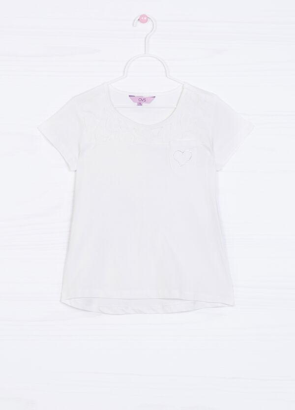 T-shirt puro cotone taschino strass | OVS