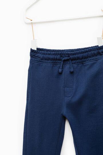 Pantaloni tuta in cotone con coulisse, Blu avio, hi-res