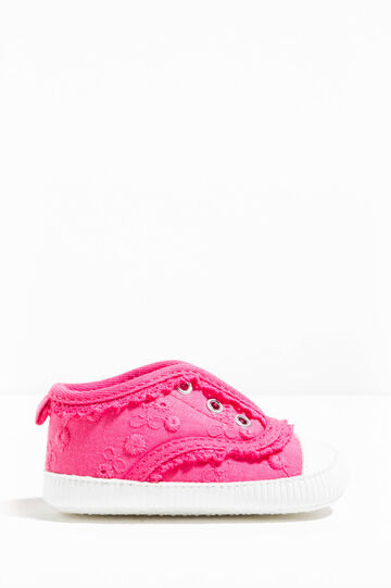 Embroidered sneakers with lace, Fuchsia, hi-res
