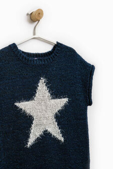 Short-sleeved pullover with embroidery on the chest, Blue, hi-res