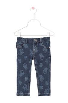 Regular fit floral stretch jeans, Denim Blue, hi-res