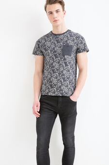 Patterned T-shirt in cotton with small pocket, Slate Grey, hi-res