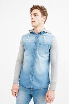 Casual denim shirt with hood, Blue, hi-res