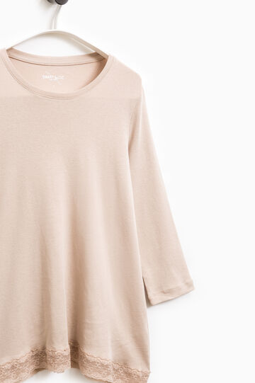 Smart Basic cotton T-shirt with lace, Beige, hi-res